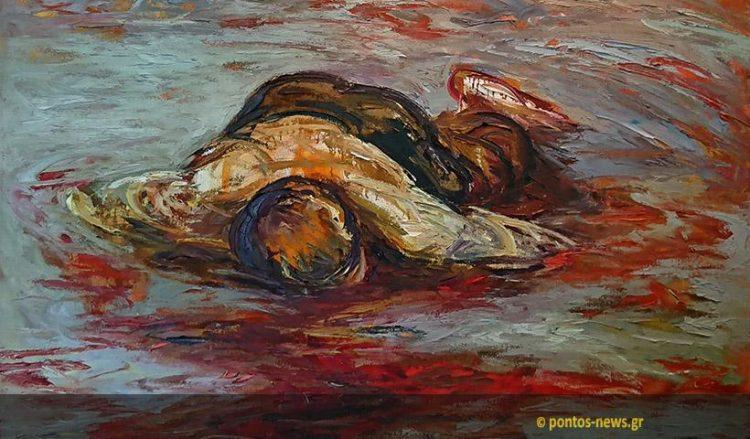 Λεπτομέρεια από πίνακα του Νίκου Μαστερόπουλου που περιλαμβάνεται στο video art «Δέηση για τον Πόντο» (φωτ.: Χριστίνα Κωνσταντάκη)