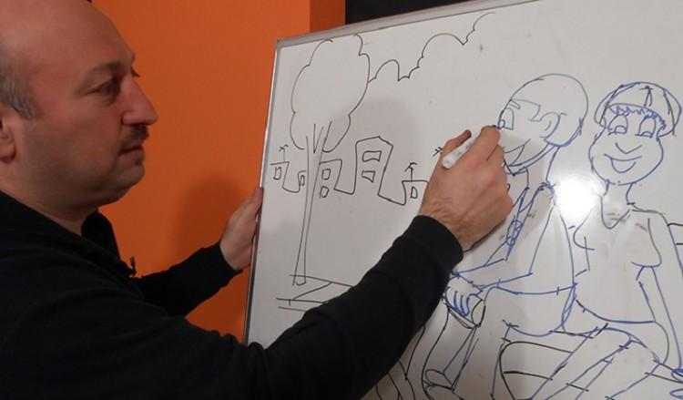 Ο Πόντιος σκιτσογράφος Δημήτρης Νικολαϊδης παραδίδει μαθήματα σκίτσου στην τηλεόραση