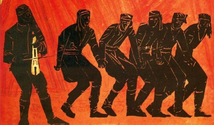 Βάλια Σεμερτζίδη «Πυρρίχιος Χορός», 70x100 cm, λαδοτέμπερα, 1972