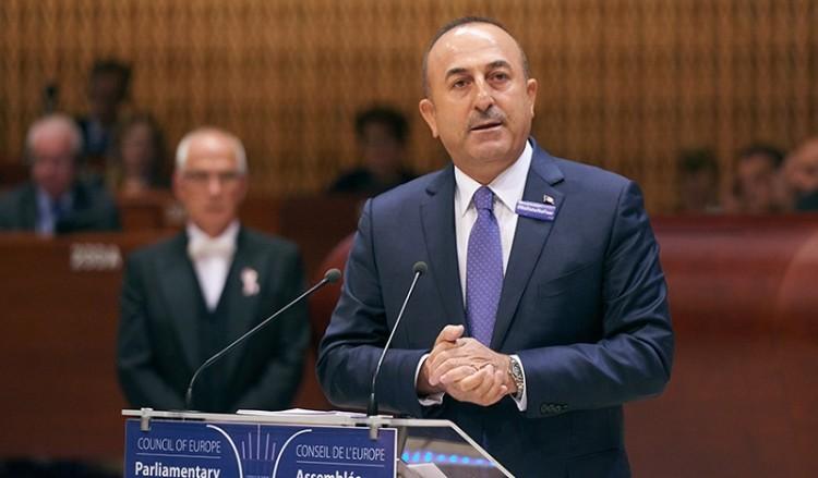 Ο Τούρκος ΥΠΕΞ Μεβλούτ Τσαβούσογλου στο Συμβούλιο της Ευρώπης (φωτ. αρχείου: STR/Sedat Suna)