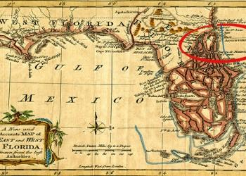 Χάρτης του 1765 που δείχνει τη Φλόριντα, ανατολικά και δυτικά