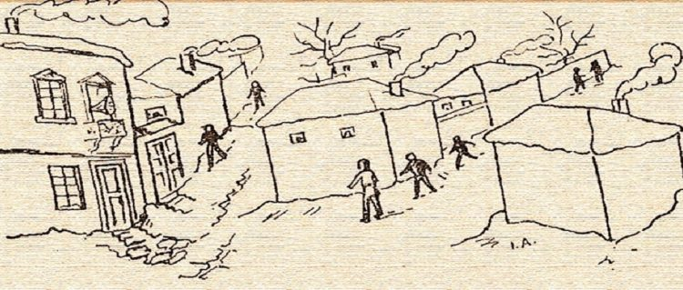 (Το σκίτσο συνόδευε το δημοσίευμα στο «Μακεδονικόν Ημερολόγιον 1974»)