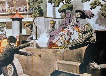 Η δολοφονία όπως απεικονίστηκε στην ιταλική εφημερίδα «Domenica del Corriere» από τον Ατσίλε Μπελτράμε (12 Ιουλίου 1914)