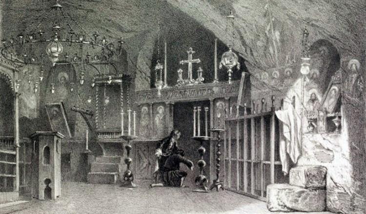 Μοναστήρι της Τραπεζούντας σε όπως απεικονίστηκε από τον Εζέν Φλαντέν. Επιστολικό δελτάριο του 1903 (πηγή: Wikipedia)