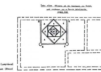 Η πυραμιδοειδής στέγη σπιτιού του 1750 στην Άδυσσα της Αργυρούπολης του Πόντου (πηγή: «Ποντιακή Εστία», τχ 164-165, σ. 180)