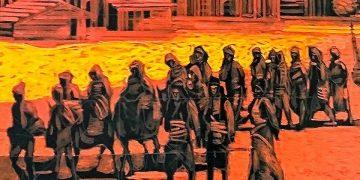 Λεπτομέρεια από πίνακα του Σωτήρη Λιούκρα που περιλαμβάνεται στην έκθεση του Κ. Φωτιάδη «Πόντος: Δικαίωμα και υποχρέωση στη μνήμη»