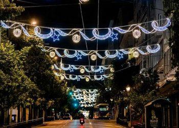 Η οδός Σταδίου στην Αθήνα στολισμένη για τα Χριστούγεννα 2020 (φωτ.: ΑΠΕ-ΜΠΕ / Δήμος Αθηναίων /STR)
