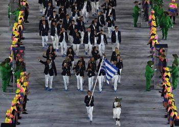 Η Σοφία Μπεκατώρου σημαιοφόρος της ελληνικής ομάδας στους Ολυμπιακούς του 2016 στο Ρίο (φωτ.: olympic.org / Getty)