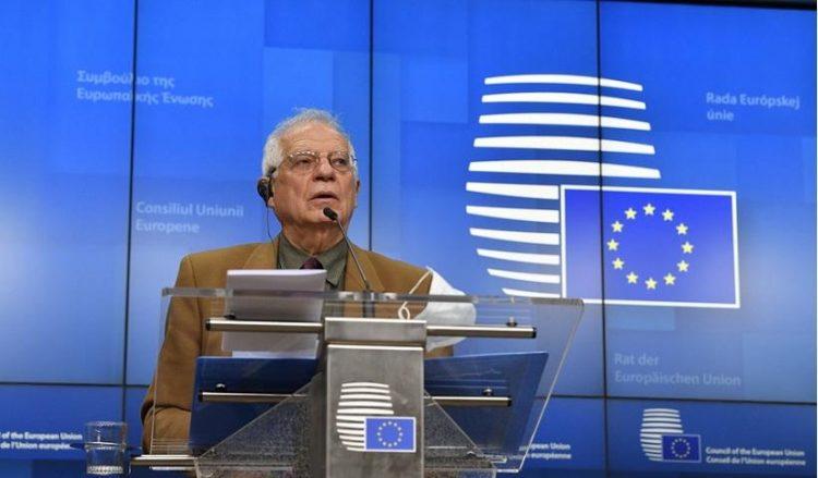 Ο Ζοζέπ Μπορέλ κατά τη συνέντευξη Τύπου μετά το ΣΕΥ της ΕΕ (φωτ.: EPA / John Thys)