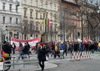 Διαδηλωτές στο κέντρο της Βιέννης κατά του lockdown (πηγή: Twitter / onlytingting)
