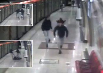 Πλάνα από κάμερα κλειστού κυκλώματος δείχνει την επίθεση στον σταθμάρχη, στην αποβάθρα του μετρό στην Ομόνοια