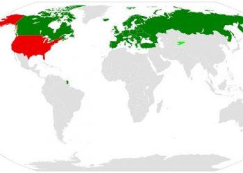 Απεικόνιση των μελών της Συνθήκης Ανοικτών Ουρανών όπως είναι σήμερα. «Κόκκινες» είναι οι χώρες που έχουν αποχωρήσει (φωτ.: en.wikipedia.org / Jay Coop)