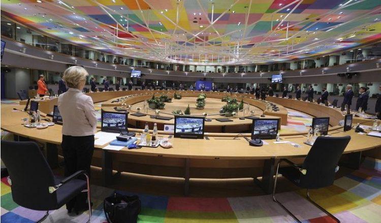 Εικόνα από τη Σύνοδο Κορυφής της ΕΕ (φωτ.: EPA / Olivier Matthys)