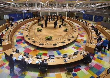Πανοραμική άποψη από την αίθουσα του Ευρωπαϊκού Συμβουλίου (φωτ.: EPA)
