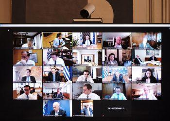 Στιγμιότυπο από παλαιότερη τηλεδιάσκεψη του Υπουργικού Συμβουλίου (φωτ.: ΑΠΕ-ΜΠΕ / Γραφείο Τύπου Πρωθυπουργού / Δημήτρης Παπαμήτσος)