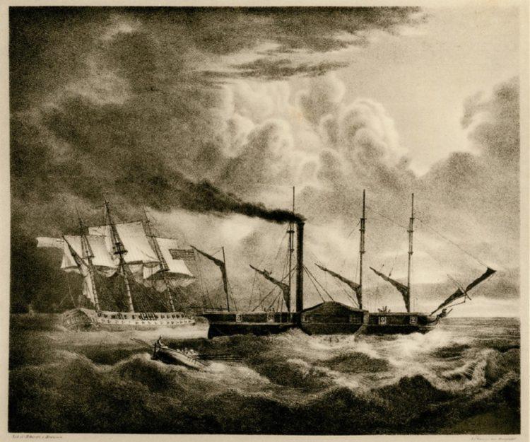 Η φρεγάτα «Ελλάς» και το «Καρτερία», το πρώτο ατμοκίνητο πλοίο. Λιθογραφία από το λεύκωμα του Karl Krazeisen (Μόναχο, 1831)
