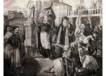 Ο Αλέξανδρος Υψηλάντης μαζί με άλλους επαναστάτες στην κεντρική πλατεία του Ιασίου. Φανταστική παράσταση του V. Kaltzer (πηγή: Romanian Cultural Institute)