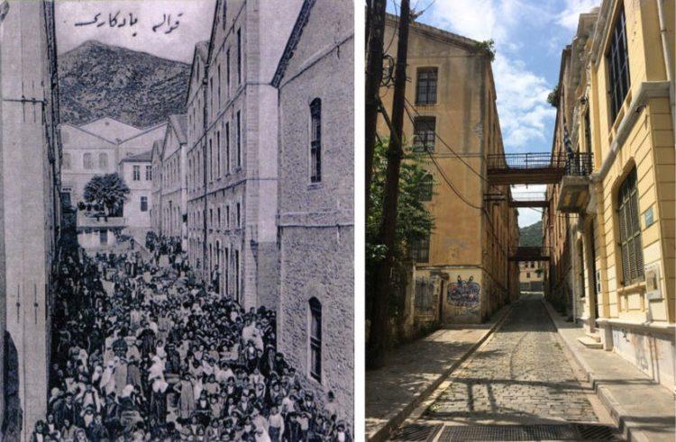 Πολυσύχναστος δρόμος στην Καβάλα, το 1910, στα αριστέρα και δεξιά ο ίδιος δρόμος στη σύγχρονη εποχή (φωτ.: sephardiclosangeles.org)