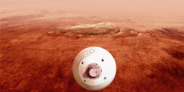 Το ρομποτικό όχημα «Perseverance» της NASA, κινείται προς την επιφάνεια του Κόκκινου Πλανήτη, ωστόσο πρέπει να υλοποιηθούν με ακρίβεια όλα τα στάδια πριν την προσεδάφισή του για να ολοκληρωθεί με επιτυχία (φωτ.: NASA/JPL-Caltech)