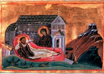 Ο Ρωμανός και η Παρθένος. Μικρογραφία από το «Μηνολόγιο του Βασιλείου Β'» (πηγή: Πανεπιστήμιο Βιέννης)