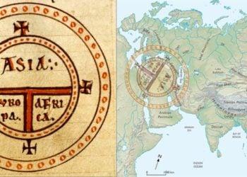 Ο μεσαιωνικός στερεότυπος συμβολικός χάρτης «Τ» του Ισιδώρου της Σεβίλλης και η προσαρμογή του στον χάρτη της Ευρασίας. (φωτ.: ΑΠΕ-ΜΠΕ / Ευάγγελος Λιβιεράτος)