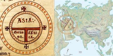 Ο μεσαιωνικός στερεότυπος συμβολικός χάρτης «Τ» του Ισιδώρου της Σεβίλλης και η προσαρμογή του στον χάρτη της Ευρασίας. Ο Εύξεινος Πόντος και η Ερυθρά θάλασσα είναι τα κλειδιά της εισόδου της Ευρασίας στη Μεσόγειο (φωτ.: ΑΠΕ-ΜΠΕ / Ευάγγελος Λιβιεράτος)