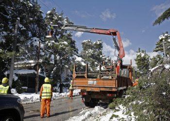 Μέλη συνεργείων αποκατάστασης βλαβών του ΔΕΔΔΗΕ και της Πυροσβεστικής επιχειρούν  σε περιοχή της Εκάλης (φωτ.: ΑΠΕ-ΜΠΕ / Αλέξανδρος Βλάχος)