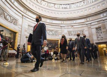 Στιγμιότυπο πριν την έναρξη της δίκης του Ντόναλντ Τραμπ (ΦΩΤ. :   EPA/JIM LO SCALZO)