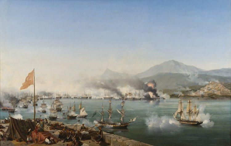 Η ναυμαχία του Ναυαρίνου (1827) –Ελαιογραφία του Γκαρνερέ (φωτ.: el.wikipedia.org)