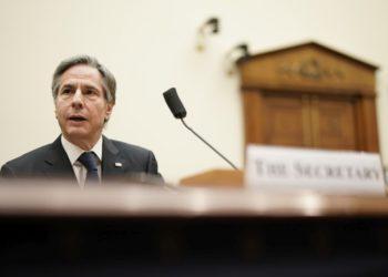 Ο Αμερικανός ΥΠΕΞ Άντονι Μπλίνκεν καταθέτει ενώπιον της Βουλής των Αντιπροσώπων (φωτ.: EPA/Ken Cedeno / POOL)