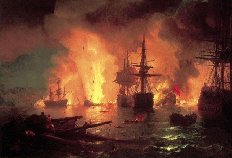«Η ναυμαχία του Τσεσμέ τη Νύχτα» (1848). Ιβάν Αϊβαζόφσκι, λάδι σε μουσαμά