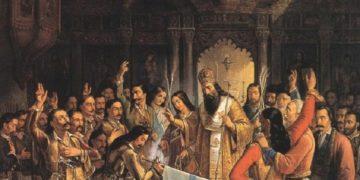 Ο Παλαιών Πατρών Γερμανός ευλογεί την σημαία της επανάστασης – Πίνακας του Θεόδωρου Βρυζακη
