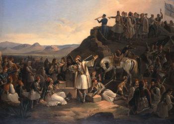 «Το στρατόπεδο του Καραϊσκάκη στην Καστέλα». Θεόδωρος Βρυζάκης (1855), λάδι σε μουσαμά. Εθνική Πινακοθήκη - Μουσείο Αλεξάνδρου Σούτζου