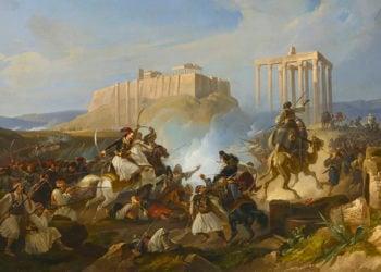 «Ο Γεώργιος Καραϊσκάκης στη μάχη της Ακρόπολης» (περ. 1835). Christian Perlberg, ελαιογραφία σε μουσαμά. Συλλογή Θανάση και Μαρίνας Μαρτίνου