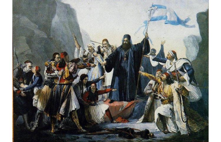 Ο Παλαιών Πατρών Γερμανός υψώνει τη σημαία της ανεξαρτησίας στα Καλάβρυτα. Λιθογραφία του Λουδοβίκου Λιπαρίνι (πηγή: wikimedia.org)