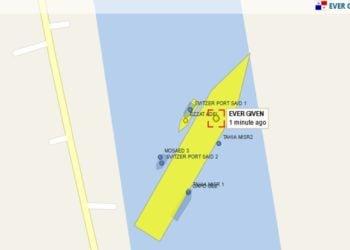 Εικόνα από χάρτη που απεικονίζει τη θέση του πλοίο (φωτ.: vesselfinders)