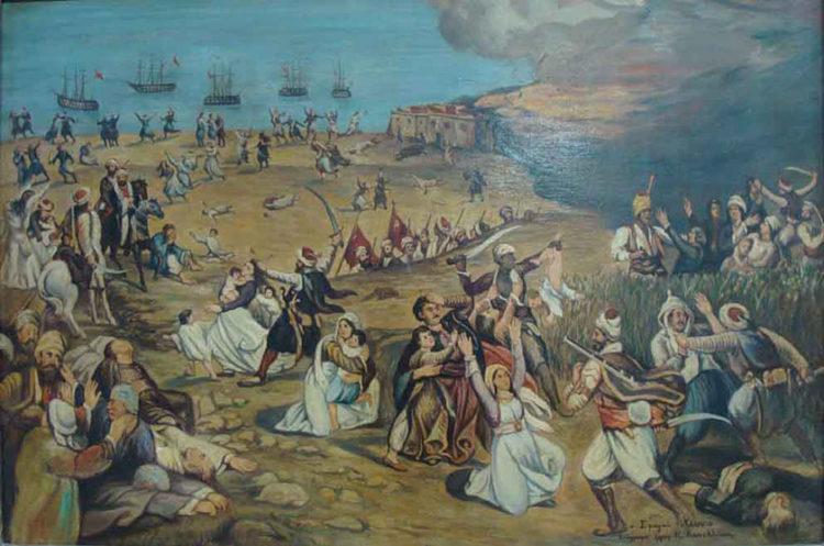 «Σφαγαί της Χίου». Κ. Κουνελλάκη, λάδι σε καμβά (πηγή: Δημόσια Βιβλιοθήκη Χίου «Κοραής»)