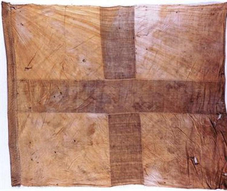 Κυανόλευκη σημαία της Ελληνικής Επανάστασης του 1821 (πηγή: Εθνικό Ιστορικό Μουσείο)