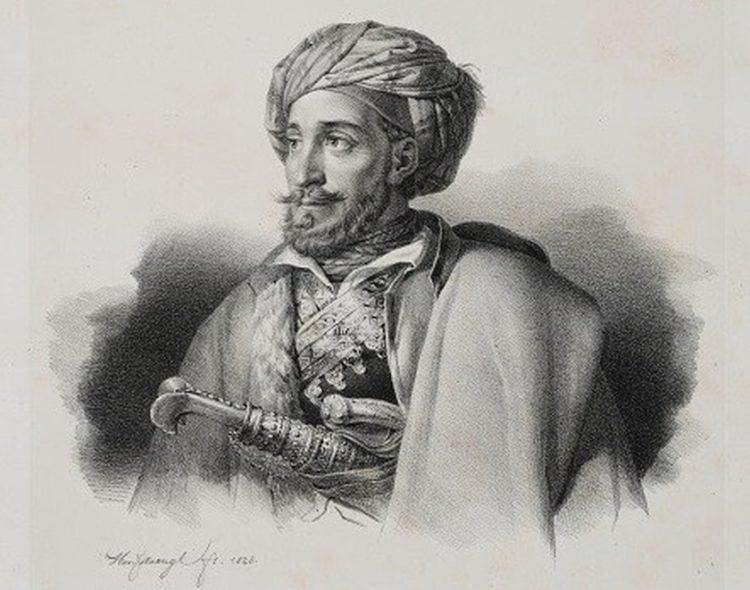 Προσωπογραφία του Ιωάννη Μακρυγιάννη. Λιθογραφία του Karl Krazeisen, πριν το 1828.