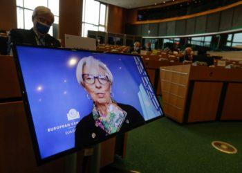 Η πρόεδρος της Ευρωπαϊκής Κεντρικής Τράπεζας Κριστίν Λαγκάρντ (φωτ.: EPA/STEPHANIE LECOCQ)
