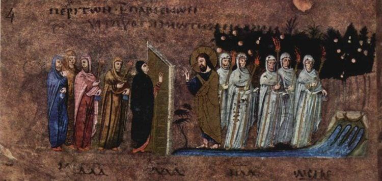 Απεικόνιση της Παραβολής των Δέκα Παρθένων (φωτ.: Meister des Evangeliars von Rossano - The Yorck Project (2002) 10.000 Meisterwerke der Malerei )