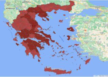 Η κατάσταση των περιοχών της Ελλάδας (φωτ.: Covid.gov.gr)