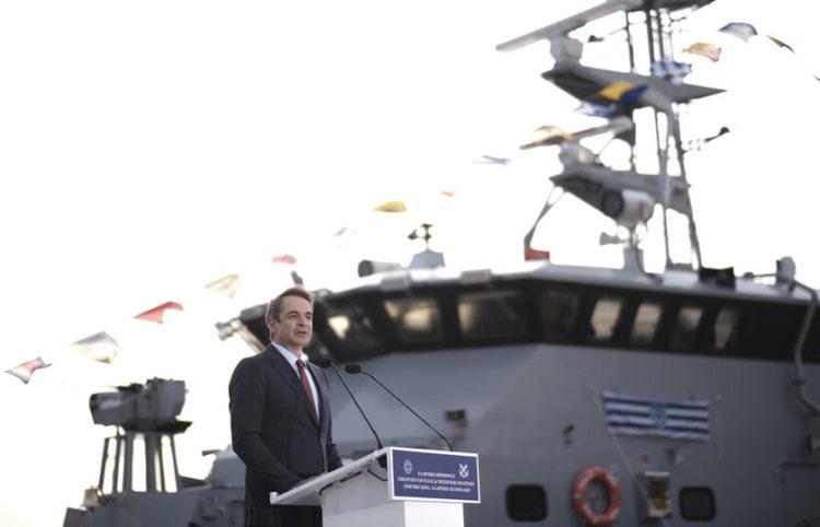 Ο πρωθυπουργός Κυριάκος Μητσοτάκης μιλάει στην τελετή παραλαβής των νέων σκαφών του Λιμενικού Σώματος (Φωτ.: ΑΠΕ-ΜΠΕ/ Γραφείο Τύπου Πρωθυπουργού/ Δημήτρης Παπαμήτσος)