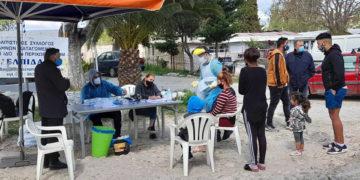 Rapid test στον οικισμό των Ρομά στο Νομισματοκοπείο (φωτ.: Δήμος Χαλανδρίου)