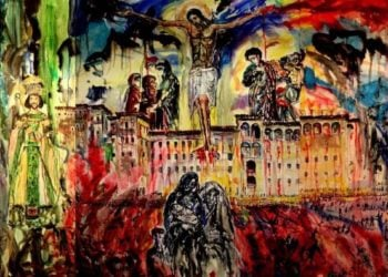 Έργο του διεθνούς φήμης Αλβανού ζωγράφου Gjergj Kola (Γεώργιος Κόλα) για τη Γενοκτονία των Ελλήνων του Πόντου(φωτ.: facebook.com/artgjergjgeorgio.kola)