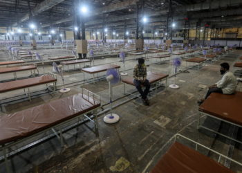 Ένα καινούργιο κέντρο περίθαλψης ασθενών με κορονοϊό στη Μουμπάι (φωτ.: ΑΠΕ-ΜΠΕ/ ΕΡΑ/ Divyakant Solanki)