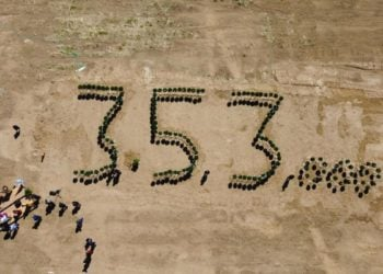 Εικόνα από ψηλά από τον τόπο της δενδροφύτευσης (φωτ.: ΠΟΠΣ)