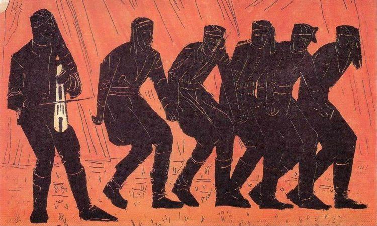 «Πυρρίχιος χορός», 70Χ100 εκ., λαδοτέμπερα, Βάλιας Σεμερτζίδης, 1972. (φωτ.: Λεύκωμα «Από τον Πόντο και τη Μικρασία στον Πειραιά, εδώ… στη Δραπετσώνα» της Ένωσης Ποντίων Πειραιώς-Κερατσινίου-Δραπετσώνας)