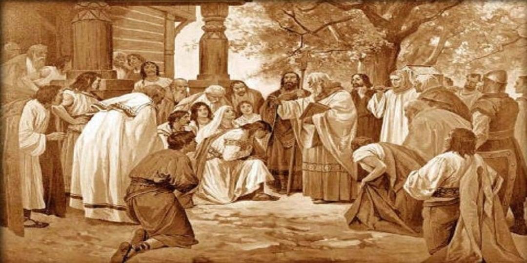 Οι Άγιοι Κύριλλος και Μεθόδιος διδάσκουν το χριστιανισμό στη Μοραβία (φωτ.: el.wikipedia.org / Venceslav Cerny)