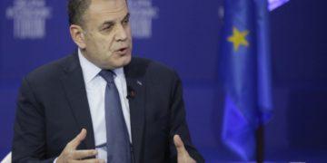 Ο υπουργός Εθνικής Άμυνας Νίκος Παναγιωτόπουλος μιλάει κατά την 6η ημέρα του 6oυ Οικονομικού Φόρουμ των Δελφών, στο Μέγαρο του Ζαππείου